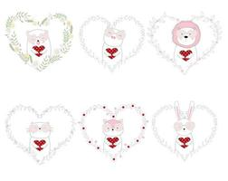Hand drawn style cute animals hold hearts