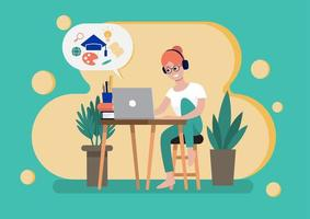 Woman studying online course vector