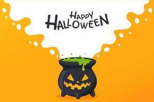 Halloween cauldron with jack-o-lantern face vector
