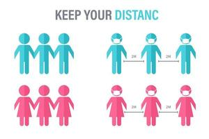 Paper cut people holding hands social distance poster