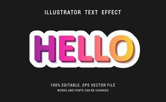 Regenbogen hallo Texteffektdesign vektor