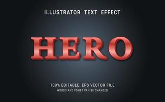 rood metallic held teksteffect ontwerp vector