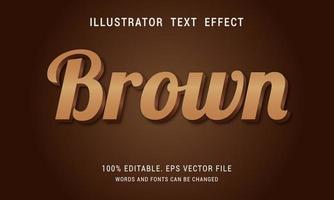 diseño de efecto de texto marrón y negrita brillante vector