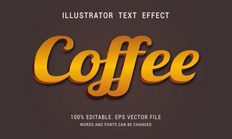 efecto de texto de café oscuro café brillante vector