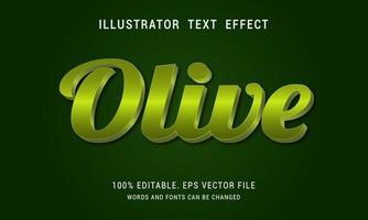 efecto de texto en negrita verde oliva brillante vector