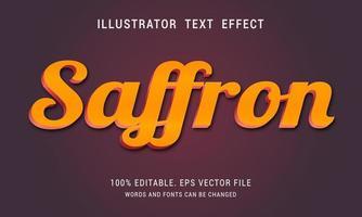 diseño de efecto de texto de azafrán brillante vector