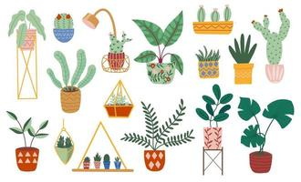 Hand drawn macrame hangers for house plants vector