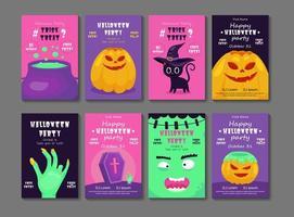 conjunto de flyer de fiesta de halloween