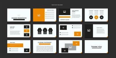 conjunto de plantillas de diapositivas de negocios naranja, blanco y negro vector