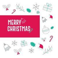 feliz diseño de tarjeta de navidad con elementos o caja de regalo de santa vector