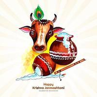 Indian Festival of Janmashtami Celebration Card vector