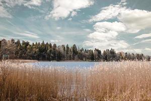 lago bajo cielo nublado