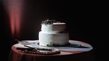 Two layered white cake photo