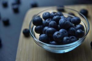 Blueberries in glass bowl