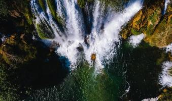 Aerial waterfalls during daytime
