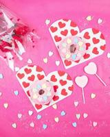 White and red hearts printed cloths photo