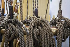 Cabled rope on boat