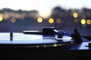 Vinyl record player spinning