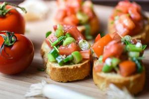 Fresh traditional vegetarian bruschetta