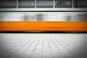 Blurred image of fast moving tram