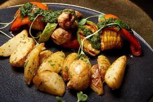 Colorful baked vegetables