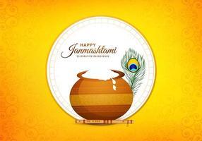 Tarjeta de festival de janmashtami con maceta en marco de círculo