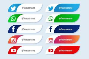 Popular social media curved lower third banner set vector