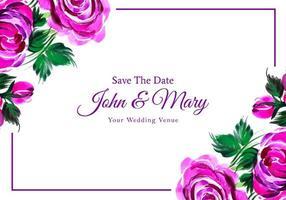 Wedding invitation purple watercolor flowers card vector