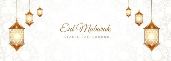 Estandarte islámico eid mubarak con linternas doradas vector