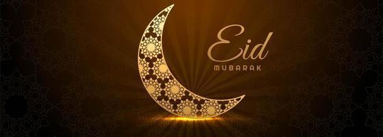 Glowing golden crescent moon Eid Mubarak banner vector