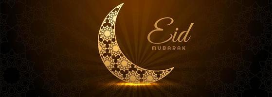 brillante media luna dorada eid mubarak banner vector