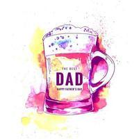 Happy Father's Day watercolor mug design vector