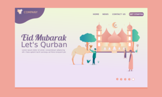 Happy Eid Al Adha Landing Page vector