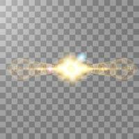 Horizontal sunlight lens flare effect vector