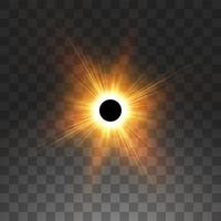 Total solar eclipse on transparency vector