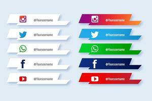 Social media lower third angled banner set vector