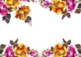 Wedding invitation flowers top and bottom border design vector