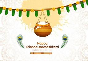 Happy janmashtami design with banner and hanging pot vector