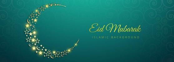 Eid Mubarak glowing golden moon on blue pattern vector