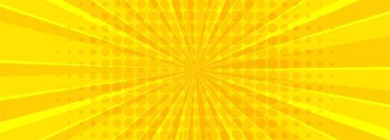 Yellow comic book rays banner vector