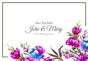 plantilla de tarjeta de boda de marco de flores encantadoras