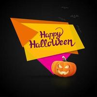 Happy Halloween geometric banner with pumpkin and lettering vector