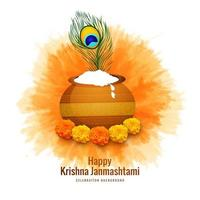 tarjeta religiosa feliz celebración janmashtami