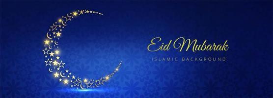 Eid Mubarak glowing golden moon on blue pattern