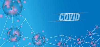 diseño covid 19 conectado azul transparente vector