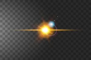 Sun flare isolated on transparency vector