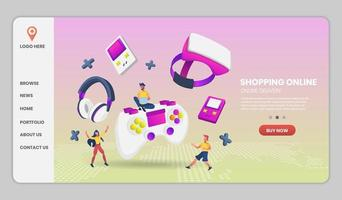 Video game online shopping and delivery concept vector