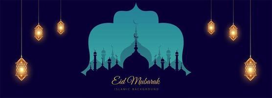 Islamic festival blue mosque silhouette banner vector