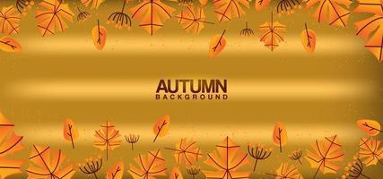 borde de hoja de otoño en textura dorada brillante vector