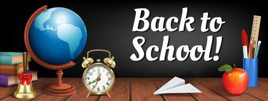 Back to school banner with realistic elements on wood
